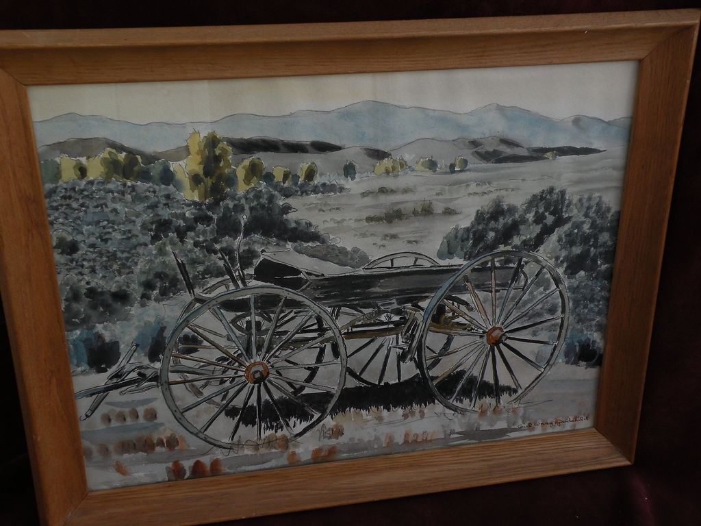 CECIL WRAY GOODCHILD (1901-1983) watercolor painting of a buckboard in a landscape