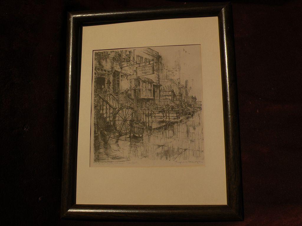 "EUGENE FRANDZEN (1893-1972) California listed art pencil signed lithograph print ""Old Curiosity Shops New York"""