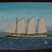 JOHN C. HATLEM (1907-2007) naive marine painting of a coastal schooner by noted Maine artist