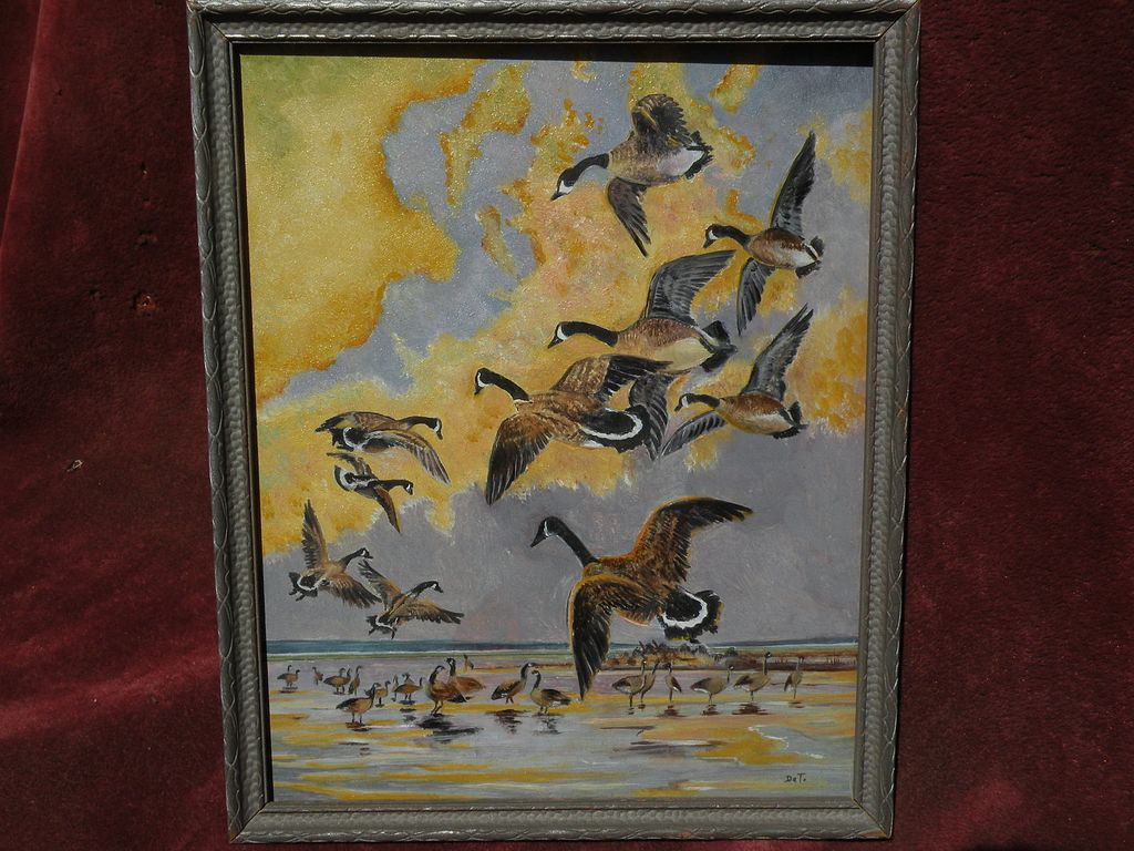 Oil on board of Canada Geese likely painted by RICHARD DETREVILLE (1864-1929) Northern California artist