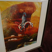 Contemporary Native American Art painting of traditional Southwest hunter on Appaloosa horse in desert landscape
