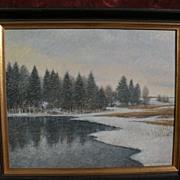 OLAVI HURMERINTA (1928-) listed Finnish artist winter landscape with snow dated 1981
