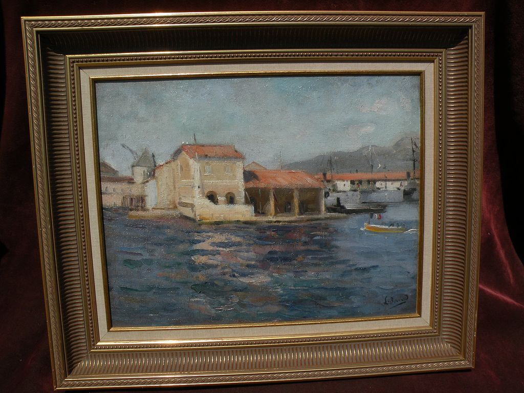 LOUIS MICHEL BERNARD (1885-1962) impressionist oil painting of Mediterranean port by noted French Orientalist painter