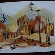 Original painting of Paris street scene signed P. VIGNOT