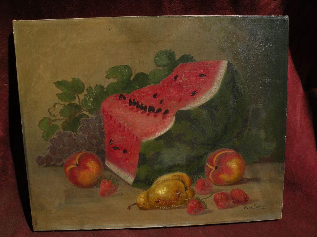 MABEL LEMOS (1861-) still life painting of fruit by noted Santa Cruz California listed artist