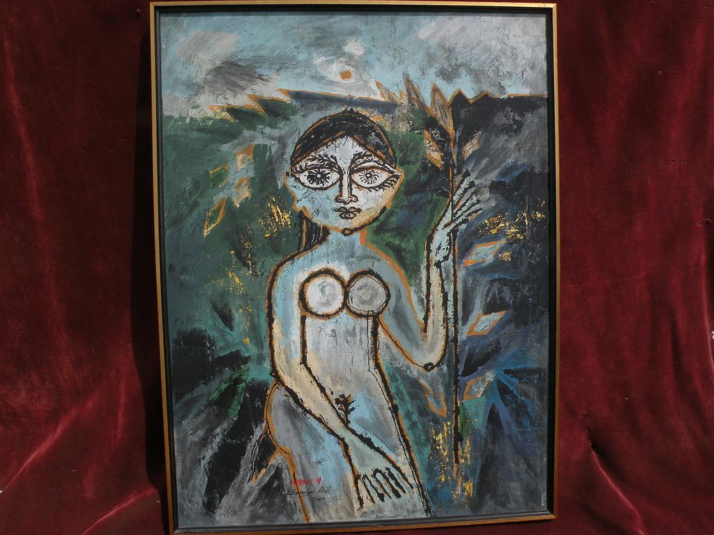 LAXMAN PAI (1926-) modern Indian art expressionist painting by well listed important painter
