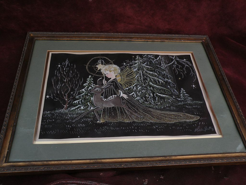 Fanciful original signed gouache painting of Christmas angel and Bambi by HILDA GENTRY