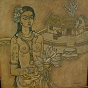 ABDUL RAHIMAN APPABHAI ALMELKAR (1920-1982) modern Indian art painting by well listed artist of woman and village dated 1967