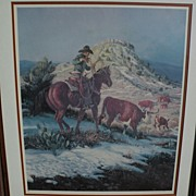 JOE BEELER (1931-2006) pencil signed limited edition print of cowboy on horse by well listed w