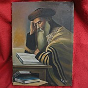 Judaica Jewish art oil painting of a holy man studying religious books