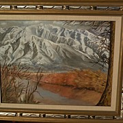 Signed impressionist western American painting of dramatic snowy mountains