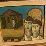 DAN KEDAR (1929-2008)  Israeli modern art surrealist painting dated 1968