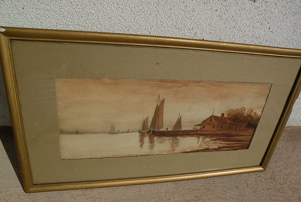 Vintage American watercolor painting of boats at the coast