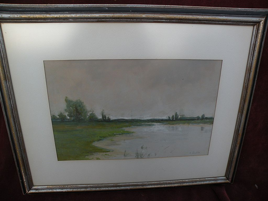 AMEDEE JOULLIN (1862-1917) delicate pastel landscape of lake or swamp by well listed early San Francisco artist