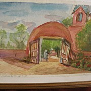 Northern New Mexico art original signed contemporary watercolor of iconic Santuario de Chimayo