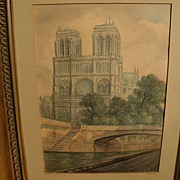 French art original vintage signed 1954 drawing of Notre Dame and the Seine bridges in Paris