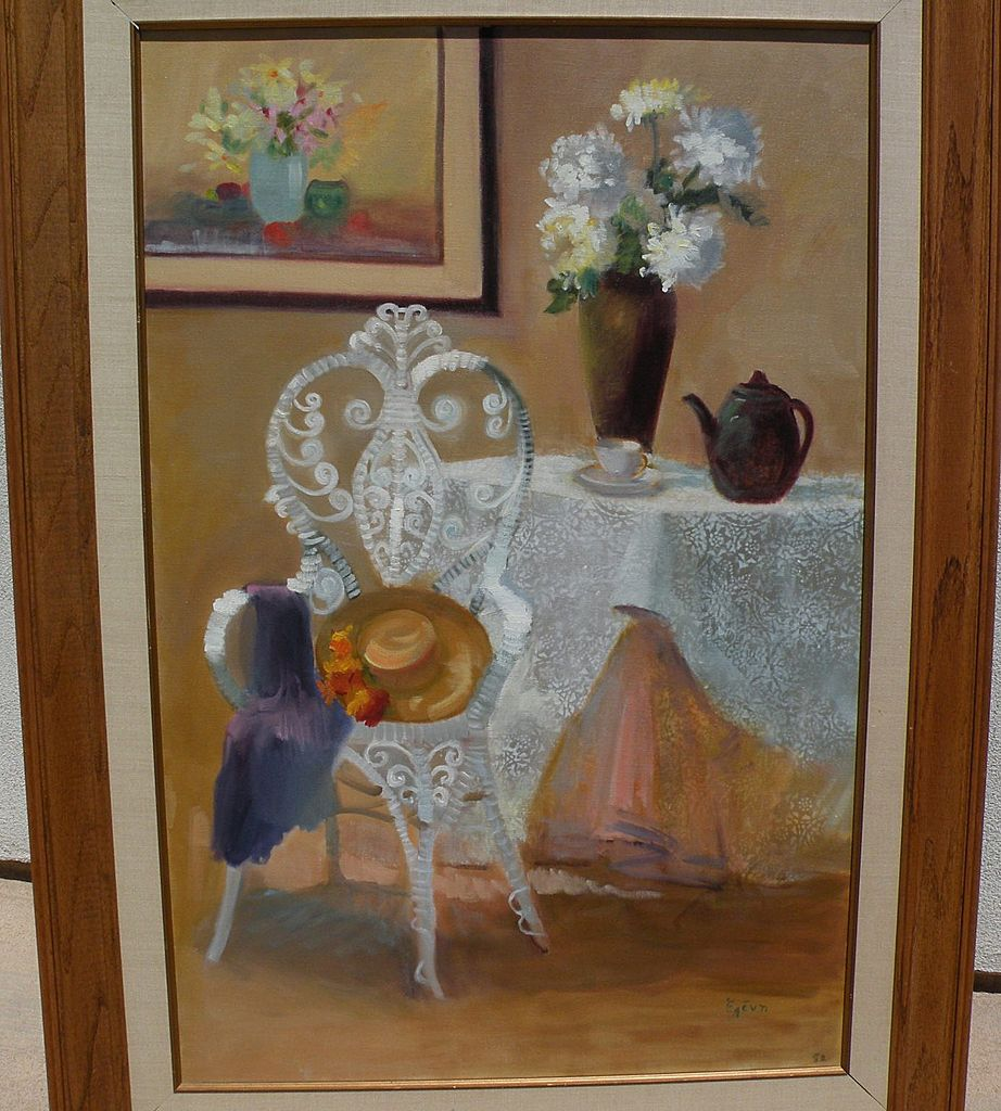 Large attractive signed impressionist contemporary decorative interior painting