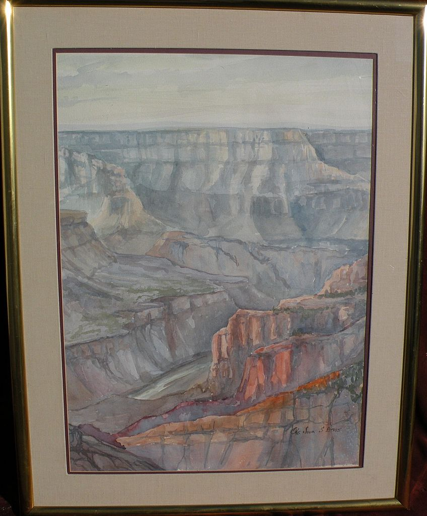 Original contemporary signed Grand Canyon large watercolor painting