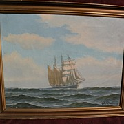 O. PALMER (1900-) Danish marine art clipper ship in full sail on the high seas