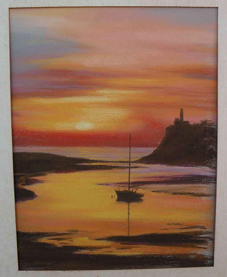 Pastel drawing boat and lighthouse at sunset