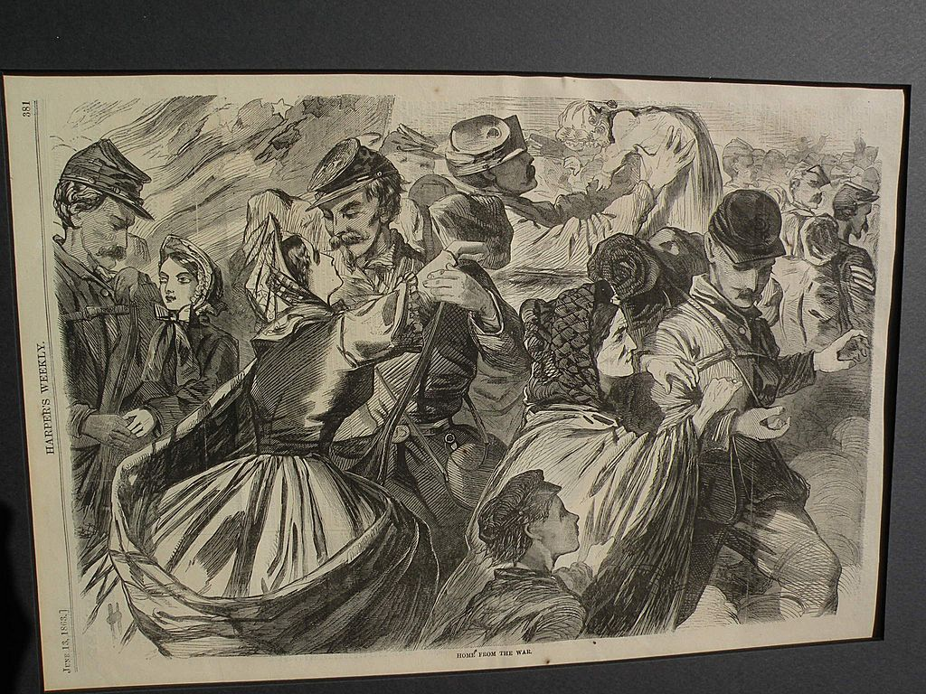 WINSLOW HOMER (1836-1910) wood engraving print of Civil War subject from Harpers Weekly 1863