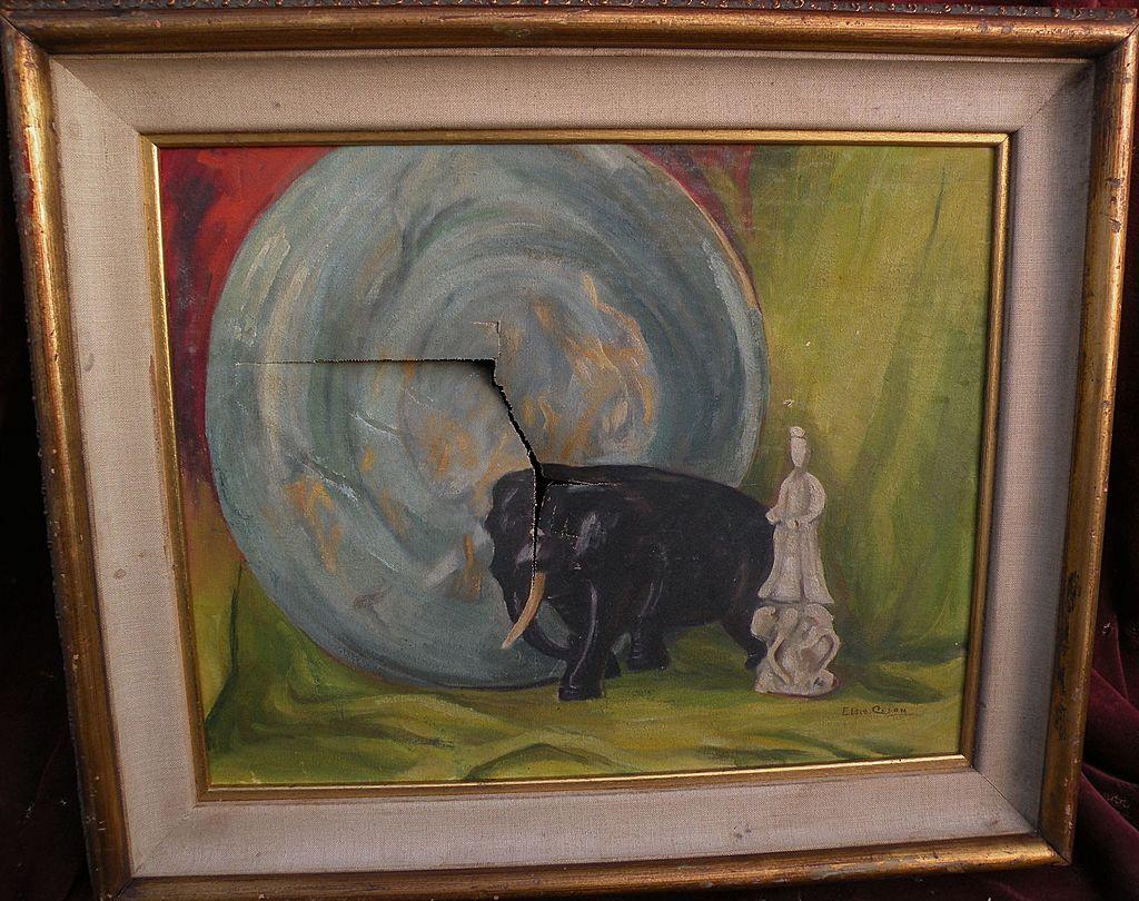 American mid 20th century damaged still life painting restorer's special