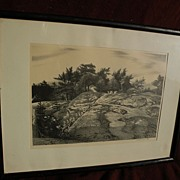 "STOW WENGENROTH (1905-1978) pencil signed lithograph print ""Woodland Ledge"" by well known American artist‏"