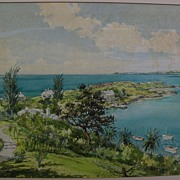 Bermuda art original mid century signed large watercolor birds-eye view painting of island landscape