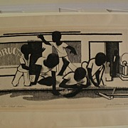 JOHN WOODROW WILSON (1922-) important African-American art pencil signed limited edition etching