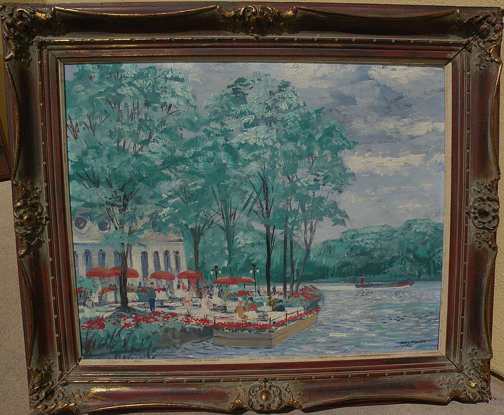 JOHN MORRIS (1920-1991) original painting of a restaurant by the Seine in Paris