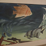 ELIOT O'HARA (1890-1969) original watercolor painting of tropical reef fish dated 1951 by well known watercolor artist and teacher‏