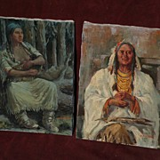 MARCO ANTONIO GOMEZ (1910-1972) **PAIR** Western Americana art paintings of the Native American Indian