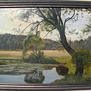 OTTO PETERSEN BALLE (1865-1916) Danish art vintage large painting of a small pond with row boa