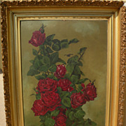 Antique roses still life painting Shabby Chic style signed N. Miller dated 1910