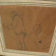 MAXIMILIEN LUCE (1858-1941) signed pencil sketch drawing of seated figures by major French Neo-Impressionist artist‏