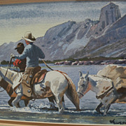 ROY KERSWILL (1925-2002) western American art watercolor painting of cowboys crossing a river in mountain landscape‏