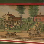 Small 19th century hand colored American print showing a farm estate in folk art style