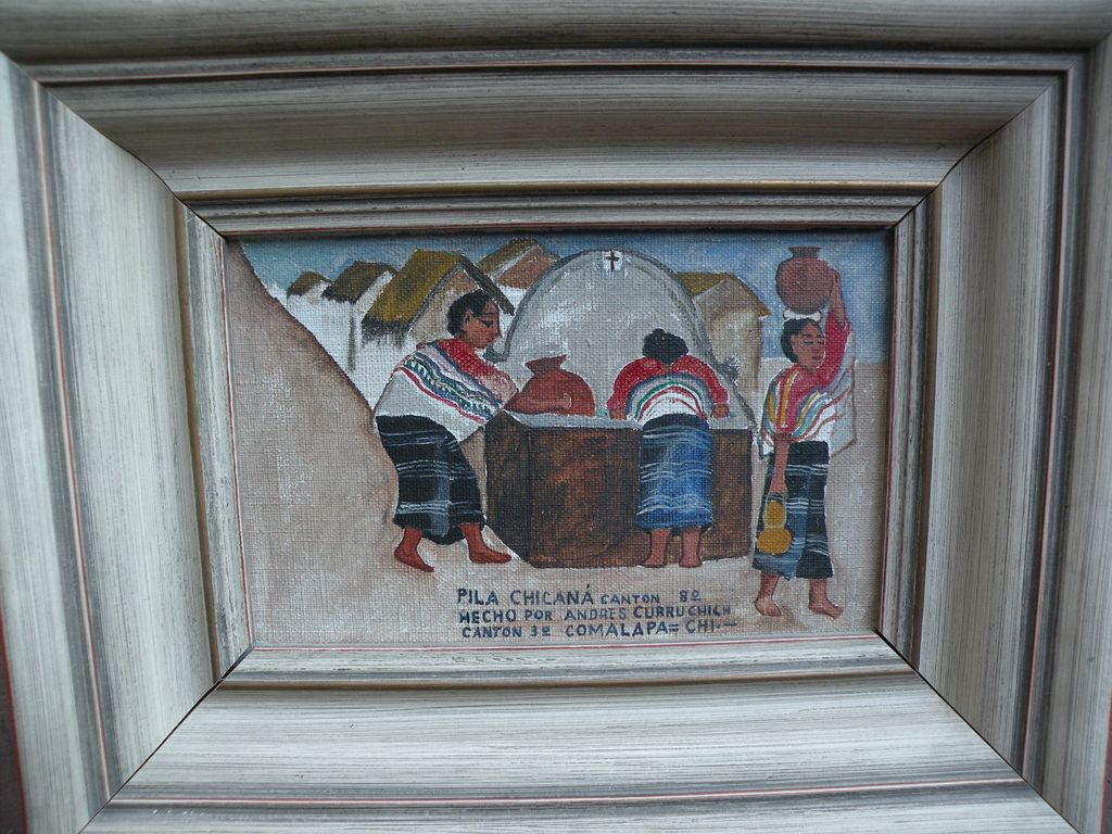 ANDRES CURRUCHICH (1891-1969) oil painting by famous Guatemalan naive artist