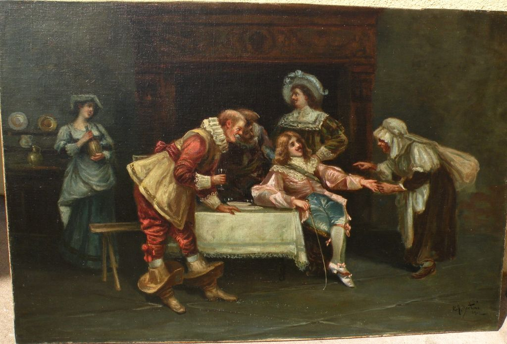 Italian 1902 antique painting of flirtatious musketeers in an interior signed R. J. BERTINI