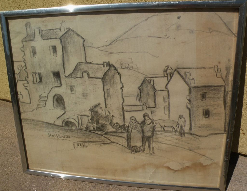 DAISY MARGUERITE HUGHES (1882-1968) pencil sketch of European village with figures