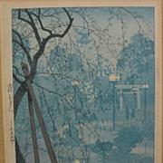 "SHIRO KASAMATSU (1898-1991) Japanese woodblock print ""Misty Evening at Shinobazu Pond, To"