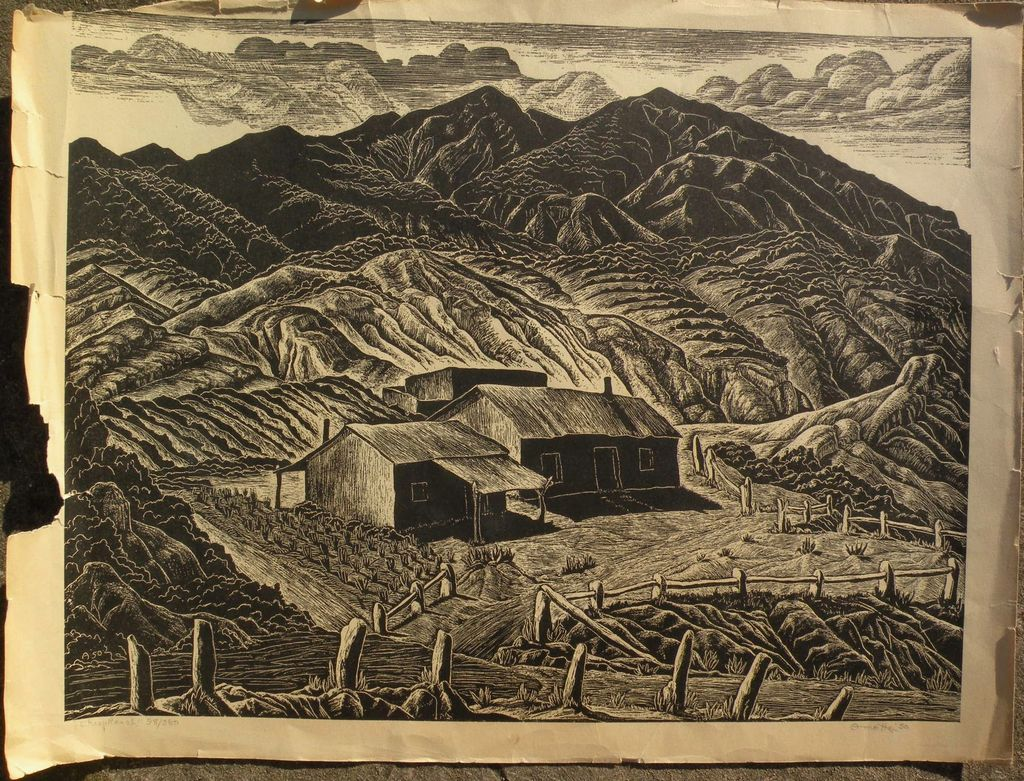 """INA ANNETTE (1901-1990) linocut print """"Sheep Ranch"""" New Mexico by student of Birger Sandzen"""