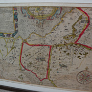 Antique engraved and hand colored 1614 map of Sinai and the Holy Land by cartographer William Hole