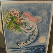 """MARC CHAGALL (1887-1985) original lithograph in colors """"Nice Soleil Fleurs"""" 1962 edition of 5000"""