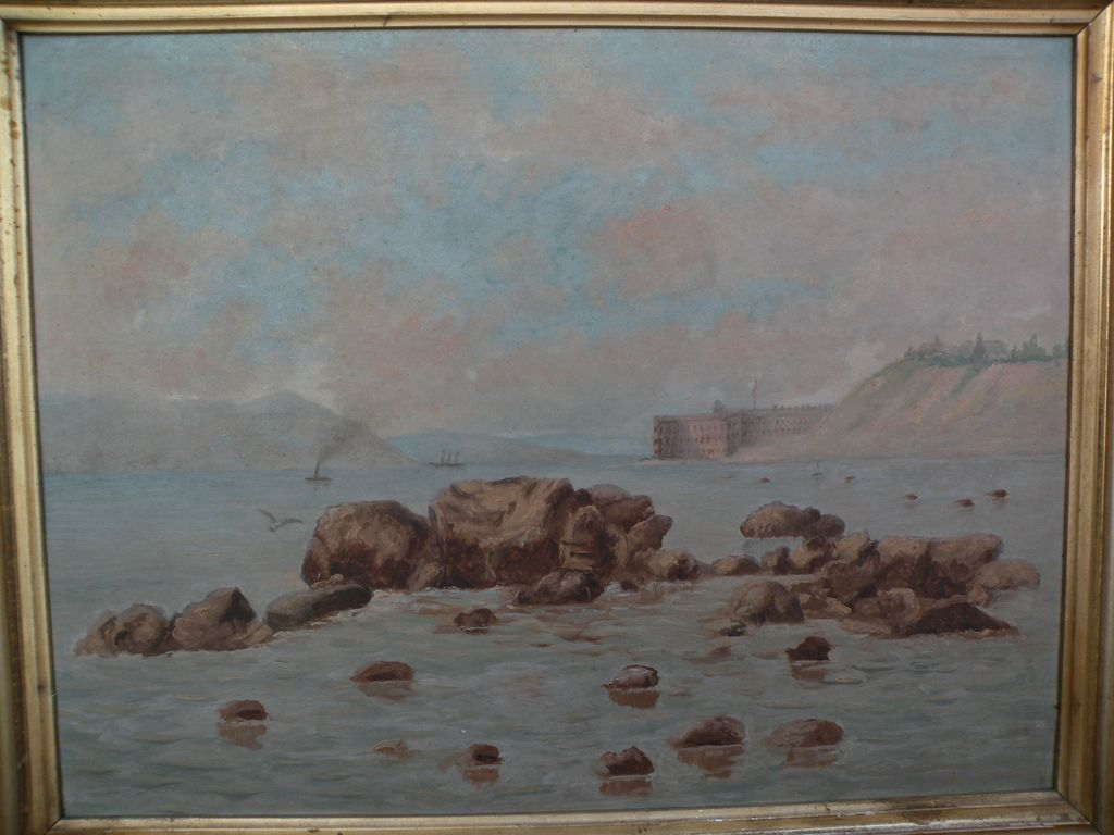 Early California art circa 1900 painting of Fort Point and Golden Gate in San Francisco before the bridge