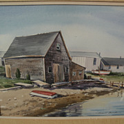 ROBERT BROOKS (1922-1992) original watercolor painting of Cape Cod harborside buildings by listed Massachusetts artist