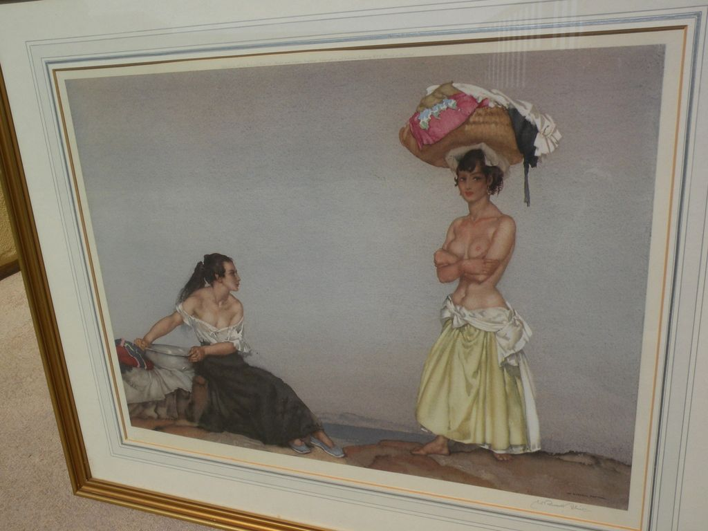 """WILLIAM RUSSELL FLINT (1880-1969) important English 20th century watercolor artist limited edition signed photolithograph print """"Rosa and Marissa"""" 1957"""