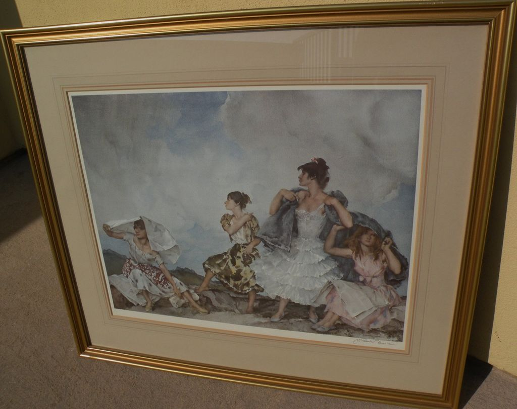 """WILLIAM RUSSELL FLINT (1880-1969) important English 20th century watercolor artist limited edition signed photolithograph print """"The Shower"""" 1961"""