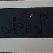 HANS BURKHARDT (1904-1994) signed numbered color  print by important Swiss-born California modern artist
