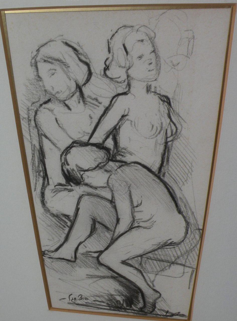 BEN-ZION MAGAL (1908-1999) Israeli art charcoal drawing of nude female figures